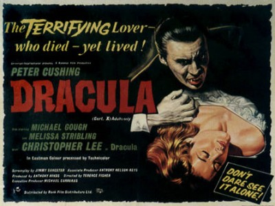 "Affiche du film ""Dracula"" de Terence Fisher, avec Christopher Lee."