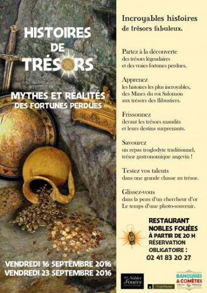 Histoires de trésors, les 16 et 23 septembre 2016 au restaurant les Nobles Fouées.